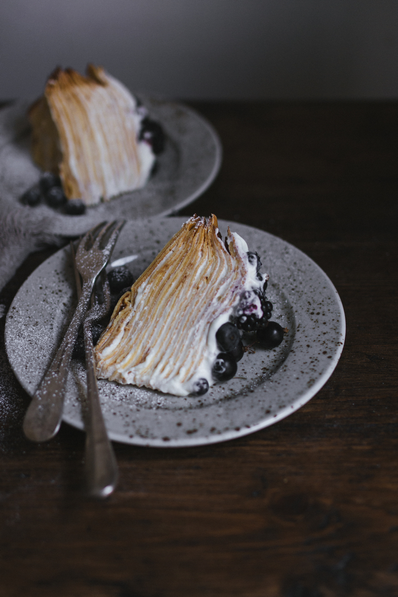 Crepe Cake with Mascarpone Cream and Blue Berries by Tanya Balyanitsa (more seasonal recipes on Honetanie.com)