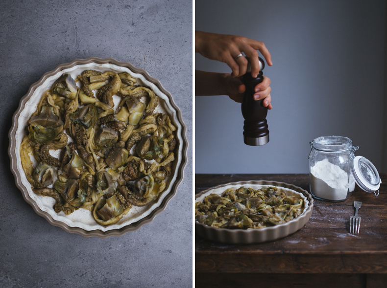 Artichoke & Roasted Aubergine Tart by Tanya Balyanitsa (more recipes on Honeytanie.com)