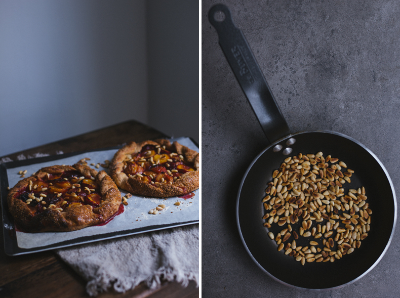 Wholewheat Plum Galette with Pine Nuts by Tanya Balyanitsa (more recipes on Honeytanie.com)